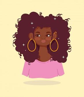 Ilustração em vetor retrato de menina afro-americana linda personagem de desenho animado