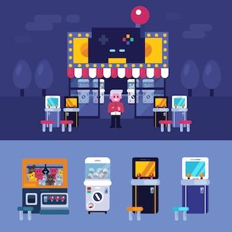 Ilustração em vetor retrô arcade máquina jogo loja
