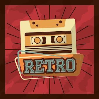 Ilustração em vetor retrô vintage cassete fita música