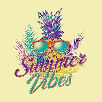 Ilustração em vetor retrô vintage de vibes de verão