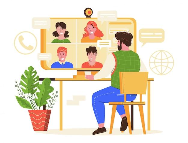 Ilustração em vetor reunião on-line.