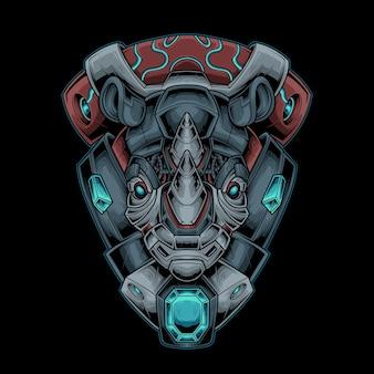 Ilustração em vetor rhino head mecha