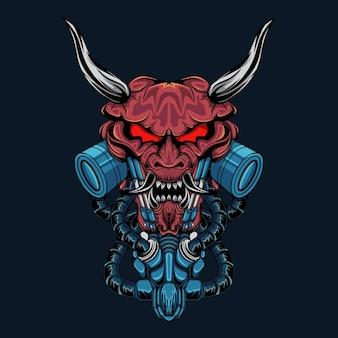Ilustração em vetor robô mecha do diabo oni