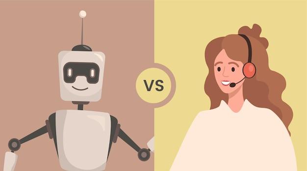 Ilustração em vetor robô versus mulher pessoas cooperam ou confronto