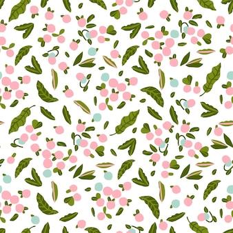 Ilustração em vetor rosa fofa e motivo de ilustração de baga arte de arquivo digital de padrão de repetição perfeita
