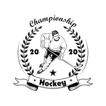 Ilustração em vetor rótulo campeonato de hóquei. jogador de hóquei no gelo no capacete, uniforme e patins, coroa de louros, texto do campeonato. conceito de comunidade de fãs ou esportes para modelos de emblemas e etiquetas