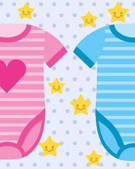 Ilustração em vetor roupas bebê rosa e azul bodysuit