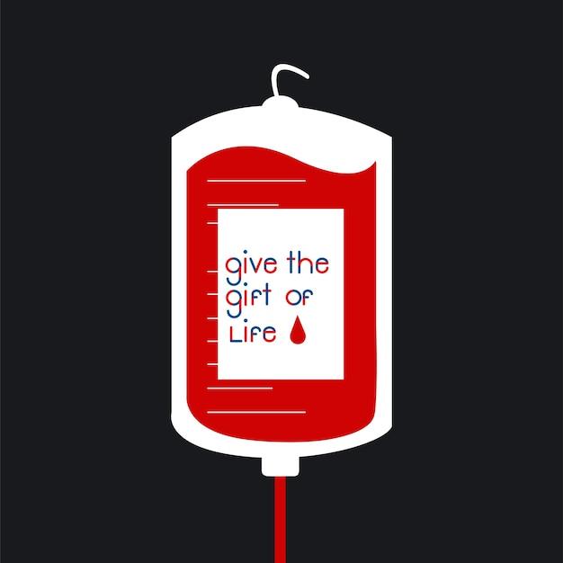 Ilustração em vetor saco de doação de sangue