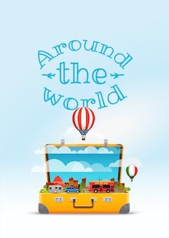 Ilustração em vetor saco de viagem. ao redor do mundo