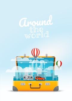 Ilustração em vetor saco de viagem. em torno do conceito do mundo