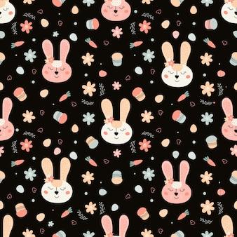 Ilustração em vetor salgueiro padrão sem emenda com uma cara de coelho bolos ovos