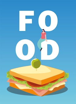 Ilustração em vetor sanduíche com azeitona e homem na comida