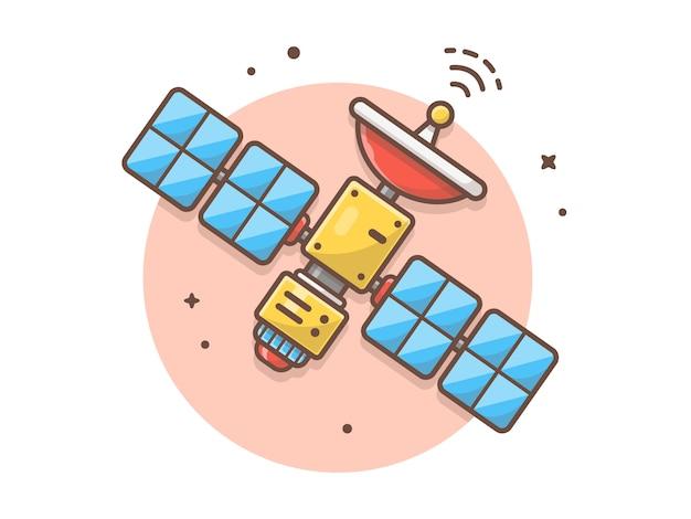 Ilustração em vetor satélite espaço voador
