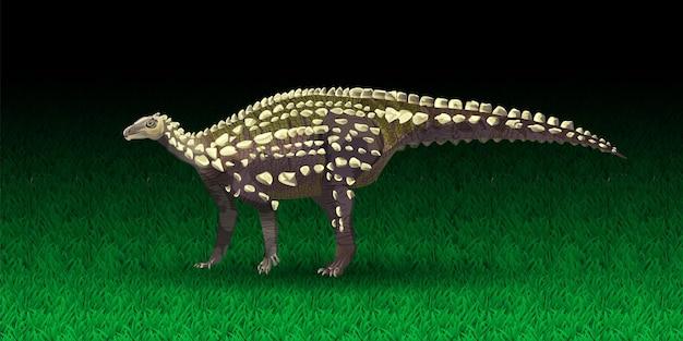 Ilustração em vetor scelidosaurus ornithischian dinossauro monocromático da silhueta de prehisto.