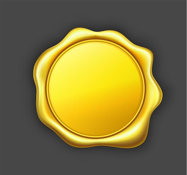 Ilustração em vetor selo cera dourada.