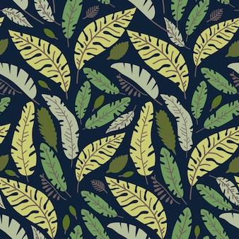 Ilustração em vetor selva tropical sem costura padrão floral