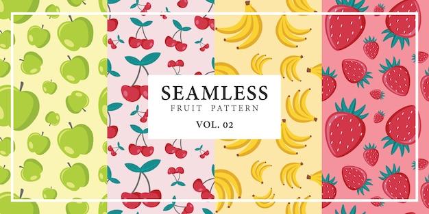 Ilustração em vetor sem costura fruta padrão maçã cereja banana morango