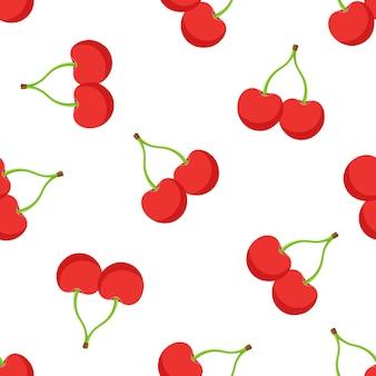 Ilustração em vetor sem costura padrão com queda de cerejas vermelhas gêmeas com um caule