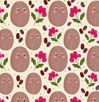 Ilustração em vetor sementes e grãos de café de desenho animado feliz padrão