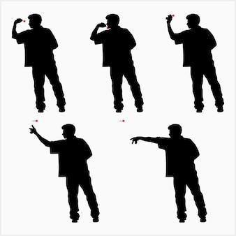 Ilustração em vetor silhueta de sequência de arremesso de dardo