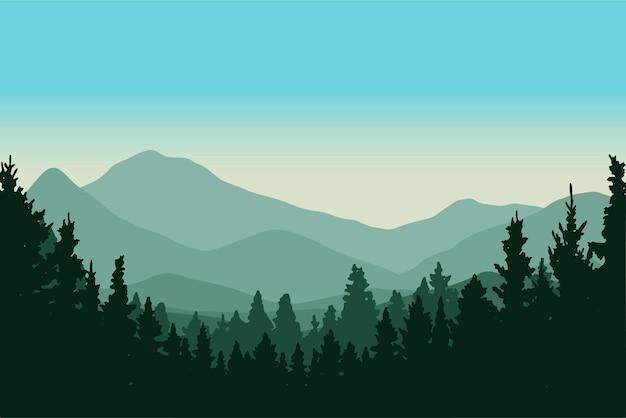 Ilustração em vetor silhueta floresta de pinheiros nas montanhas