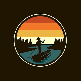 Ilustração em vetor silhueta rio e barco