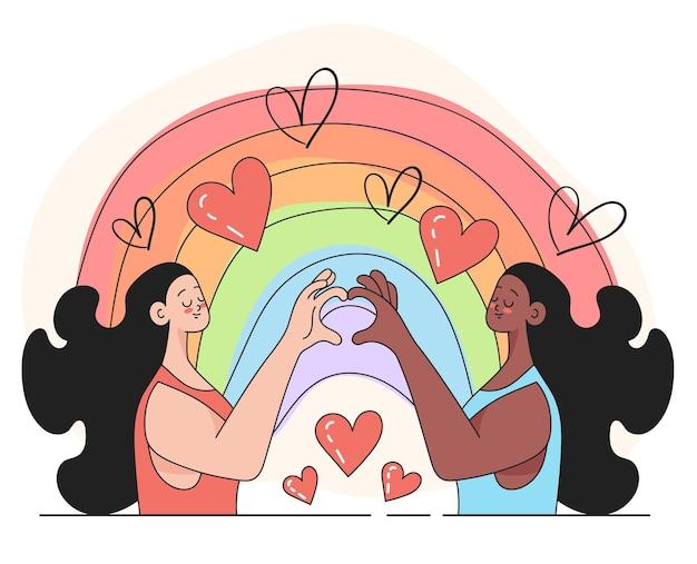 Ilustração em vetor símbolo de amor de liberdade lgbt banner