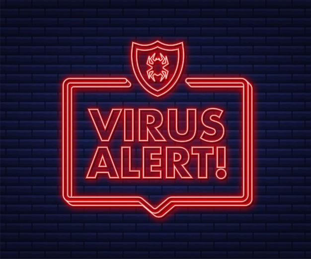 Ilustração em vetor símbolo de perigo proteção contra vírus alerta de vírus de computador internet segura