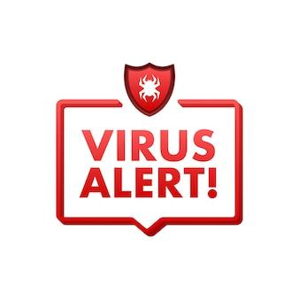 Ilustração em vetor símbolo de perigo proteção contra vírus alerta de vírus de computador