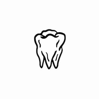 Ilustração em vetor símbolo dente tatuagem