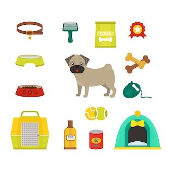 Ilustração em vetor símbolos cão pug
