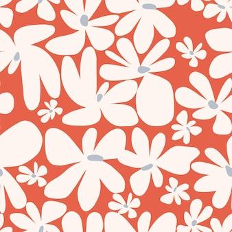 Ilustração em vetor simples e fofa flor escandinávia padrão de repetição perfeita decoração de casa de verão