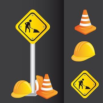 Ilustração em vetor sinal construção estrada ícones