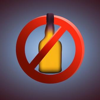 Ilustração em vetor sinal de área sem bebidas alcoólicas