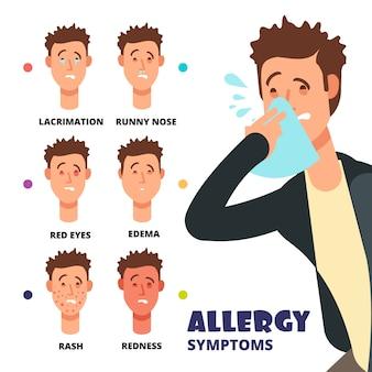 Ilustração em vetor sintomas alergia