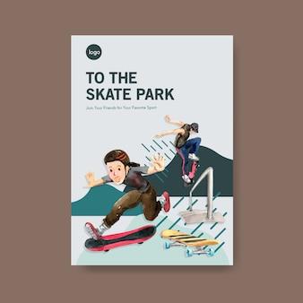Ilustração em vetor skate ilustração design conceito.