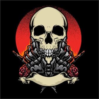 Ilustração em vetor skull rock