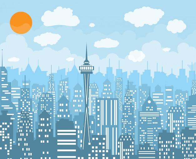 Ilustração em vetor skyline cidade.