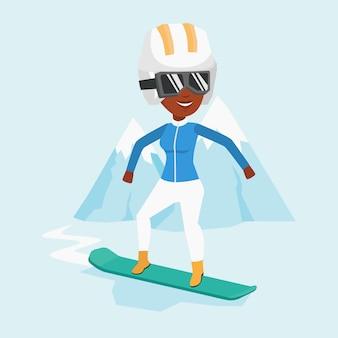 Ilustração em vetor snowboard jovem.