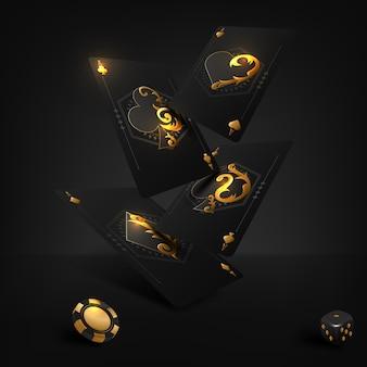 Ilustração em vetor sobre um tema de cassino com símbolos de pôquer e cartas de pôquer em fundo escuro.