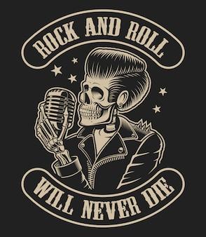 Ilustração em vetor sobre um tema de rock roll com um esqueleto