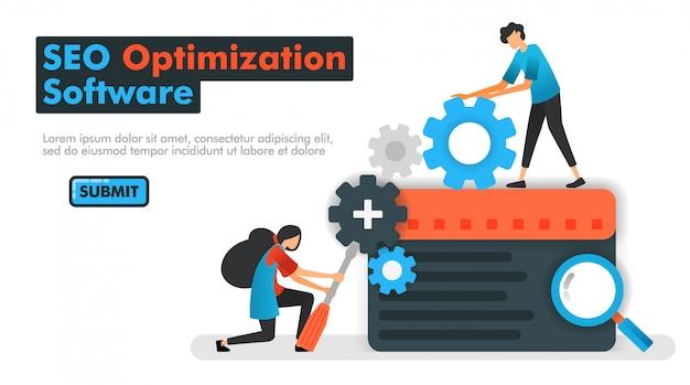 Ilustração em vetor software otimização seo
