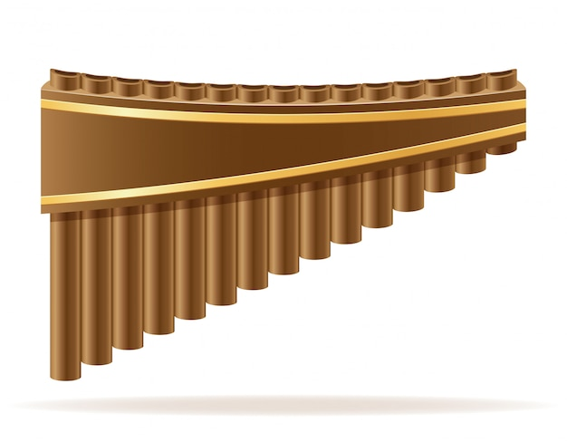 Ilustração em vetor stock pan flute vento instrumentos musicais