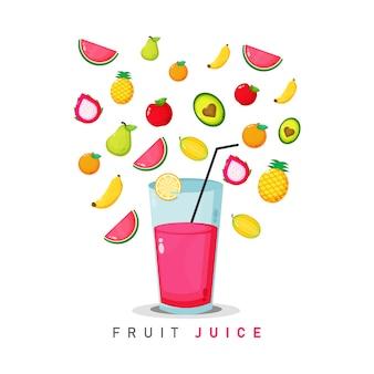 Ilustração em vetor suco de frutas