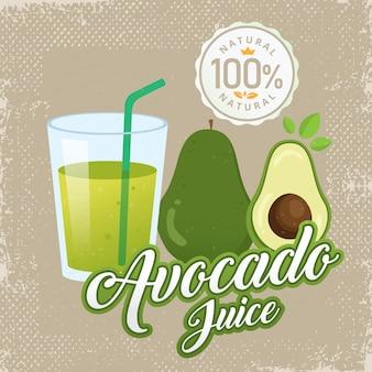 Ilustração em vetor suco vintage abacate fresco