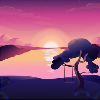 Ilustração em vetor sunset mountain lake plana de montanhas do céu à noite com acampamento de luz solar