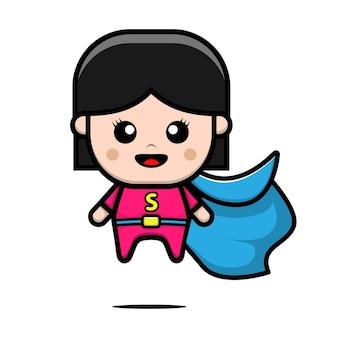 Ilustração em vetor super-herói fofo Vetor Premium