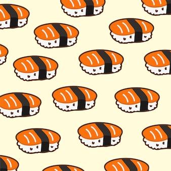Ilustração em vetor sushi padrão fundo comida japonesa