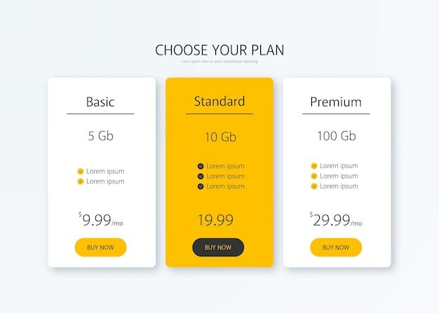 Ilustração em vetor tabela de preços