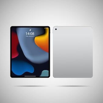 Ilustração em vetor tablet pc realista em design moderno de moldura fina com vista frontal e traseira